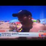 Banhista dá tanga a jornalista em direto no telejornal da TVI