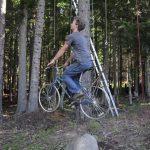 Bicicleta que funciona como um elevador