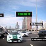 Os carros da polícia do Dubai
